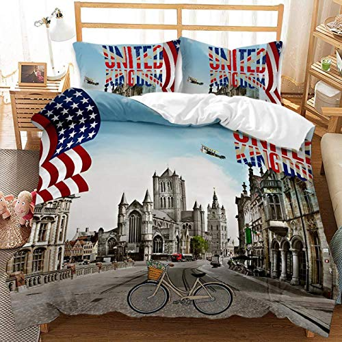 QXbecky British Urban Locomotive Starry Sky Scenery Bedding Soft Microfiber Quilt Cover Pillowcase 2, 3-Piece Set of Twin beds