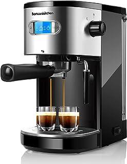 دستگاه قهوه ساز 20 قهوه اسپرسو با شیر کف دار Frother Wand 1 یا 2 Shot ، 1350W با عملکرد بالا بدون نشت 1.25 لیتر قهوه ساز مخزن قابل جابجایی آب برای اسپرسو ، کاپوچینو ، لته ، ماکیاتو ، برای خانه Barista BZ-US-CM8007