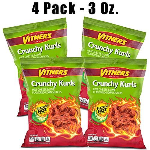 Vitners Sizzlin Hot Lime Crunchy Kurls - 4 pack 3 ounce bags