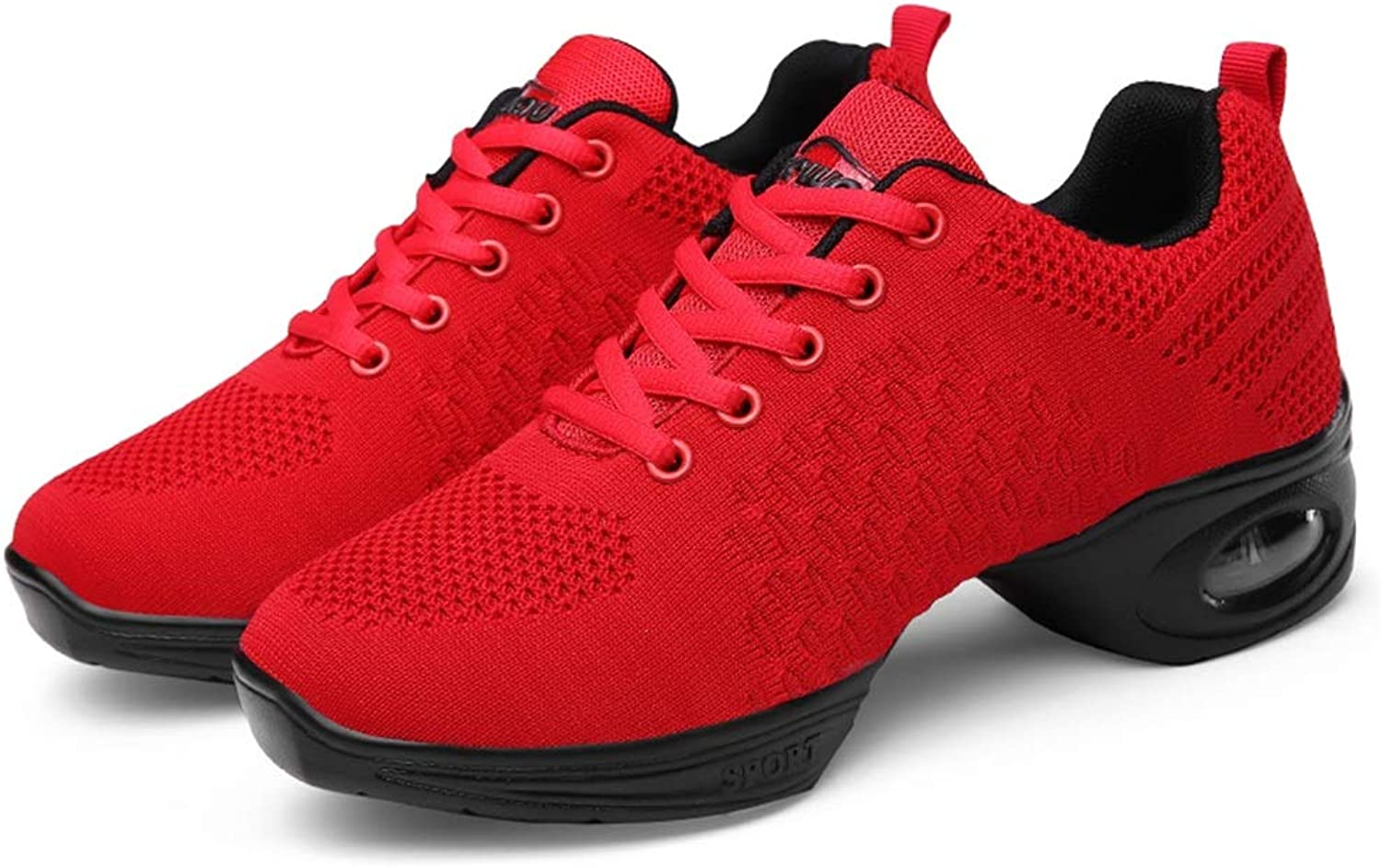 2019 Men Fashion Sneakers, Weave Vamp Anti-Slip Outsole Modern Ballroom shoes for Ladies Women's Lace Up Professional Dance shoes (color   Red, Size   5 D(M) US)