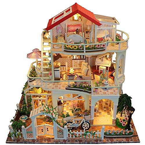 DIY Puppenhaus Weihnachten Kit Miniatur Haus Selber Bauen Zum Basteln Zubehör Holz Lernspielzeug Spielzeug Kinder 3D Geburtstagsgeschenk Für Männer Und Mädchen Luxuriöses 3 Schicht Cottage,Weiß