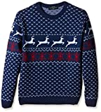 Fairisle Christmas Jumper Mens & Ladies Nordic Pattern Blue Round Neck - S to XL-X-Large