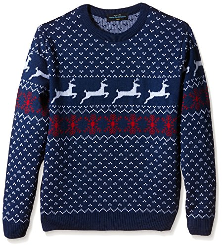 Fairisle Christmas Jumper Mens & Ladies Nordic Pattern Blue Round Neck - S to XL-X-Large