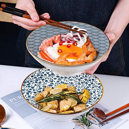 Ceramic Large Ramen Bowl Set, Porcelain 60 oz Serving Bowl for Noodle, Pho, Udon, Soup and Soba, Ramen Bowls with Spoons and Chopsticks Set, DeeCoo 2 Sets (6 Pieces) Japanese Ramen Bowls
