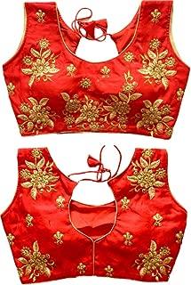 REKHA Ethnic Shop New Latest Fancy Praty Wear Blouse with Cups A864 Red