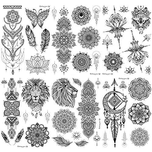Konsait 6 Feuille Noir Autocollants Tatouage Temporaire Pour Adultes Femmes Filles Plume Loup Mandala Papillon Fleur tatouage éphémère faux corps bras poitrine épaule tatouages