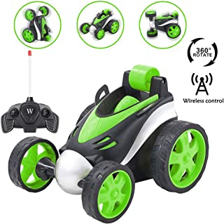 GEDIAO Remote Control Car RC Vehicle Four Wheel Stunt Car for Kids, 360 Degree Rolling Rotating Rotation, Birthday Gift for Boys(Green)