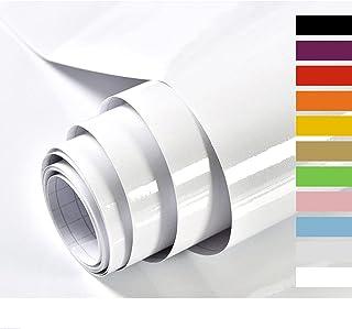 Hode Papier Adhesif pour Meuble Cuisine Porte Mur Stickers Meuble Vinyle Autocollants Meuble Blanc Brillant 40X300cm