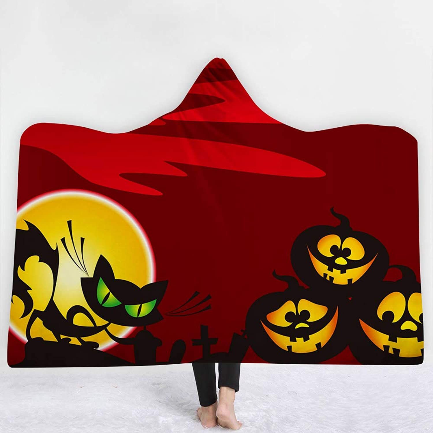 Creative Halloween Hooded Blanket Terror Pumpkin Lantern Haunted House Luxuy Thickened Hypoallergenic Sherpa Fleece Blanket Ultra Soft and Warm Winter TV Computer Throwing Blanket for Adults & Kids