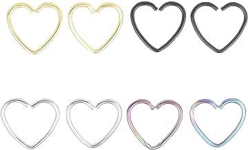 Heart Clip on Nose Rings Hoop daith Piercings Surgical Steel Nose Ring Thin Hoop Nose Rings Heart Shaped Hoop Set Cartilage Earrings Stud Ear Hoop Piercing Body Jewelry Nose Ring for Women