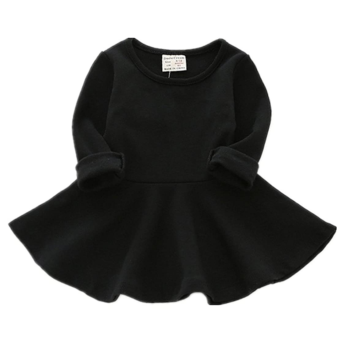 Toddler Girls Dress,Infant Round Neck Tulle Black Ruffle Long Sleeves Skirt