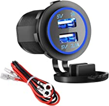 Dual USB Charger Socket Power Outlet - 1A & 2.1A for Car Boat Marine Mobile with Wire Fuse DIY Kit (3.1A-Blue)
