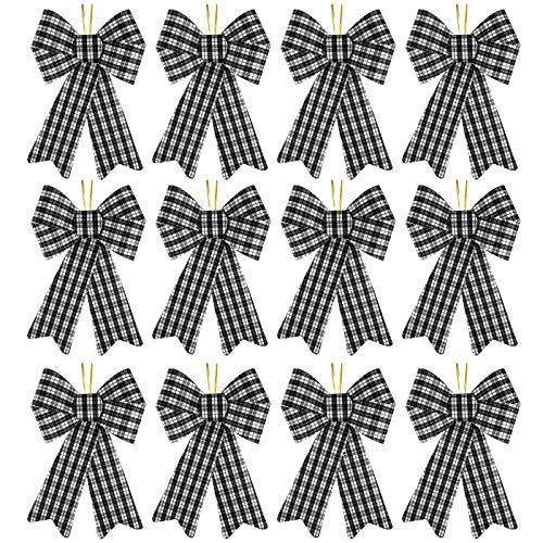 URATOT 12 Pieces Buffalo Plaid Christmas Bows Holiday Decorative Bows PVC Christmas Tree Topper Bows for Christmas Wreaths Decoration and Other DIY Crafts, 5 x 8 Inches