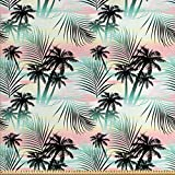 ABAKUHAUS Hawaii Gewebe als Meterware, Sommer Palmen Farn,