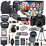 Canon EOS 90D DSLR Camera Deluxe Video Kit with Canon EF-S 18-55mm f/3.5-5.6 is STM Lens + Rode VIDEOMIC GO Microphone + SanDisk 32GB SD Memory Card + Accessory Bundle