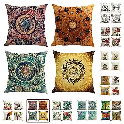 Funda cojín 45*45 cm juego de 4, fundas de cojines de lino para cojines sofa, cojines decorativos para sofa, funda cojin estampado con cuadros de mandalas y estilo étnico (Vintage Mandala, 45*45cm)
