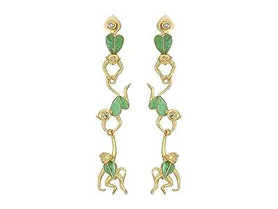 Kate Spade New York Animal Party Linear Monkey Earrings (Green) Earring