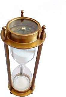 Tora Creations 6.5 INCH BRASS VINTAGE SAND TIMER WITH DOUBLE SIDED COMPASS