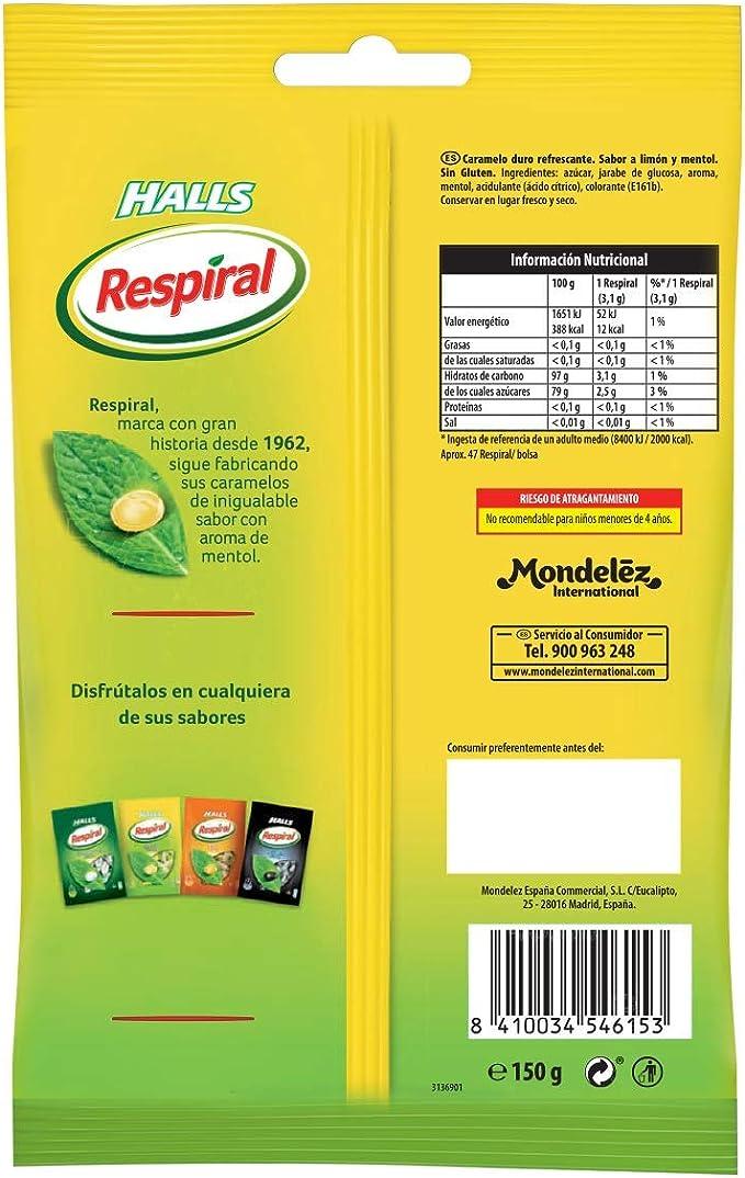 Respiral Limón Mentol Caramelo Duro Refrescante, 150g: Amazon ...