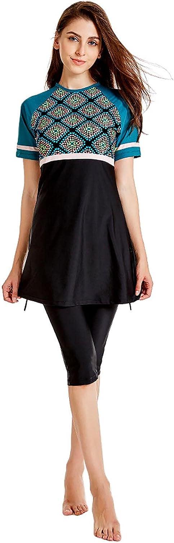 LUKU Modest Swimsuit Islamic Short Sleeve Burkini Two Piece Sets Sun Protection UPF 50+ Conservative Style Swimwear