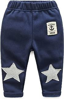 Ian&Sophia Baby Boy's Toddler Kids Star Knee Patch Fleece Lined Warm Pull-On Sweatpants Pants