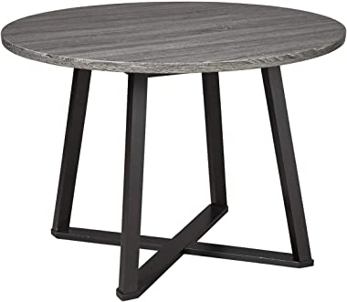 Signature Design by Ashley Centiar Mid Century Round Dining Room Table, Gray & Black