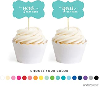Andaz Press Fully Personalized Collection, Fancy Frame Double-Sided Cupcake Toppers, 18-Pack, Custom Text or Logo