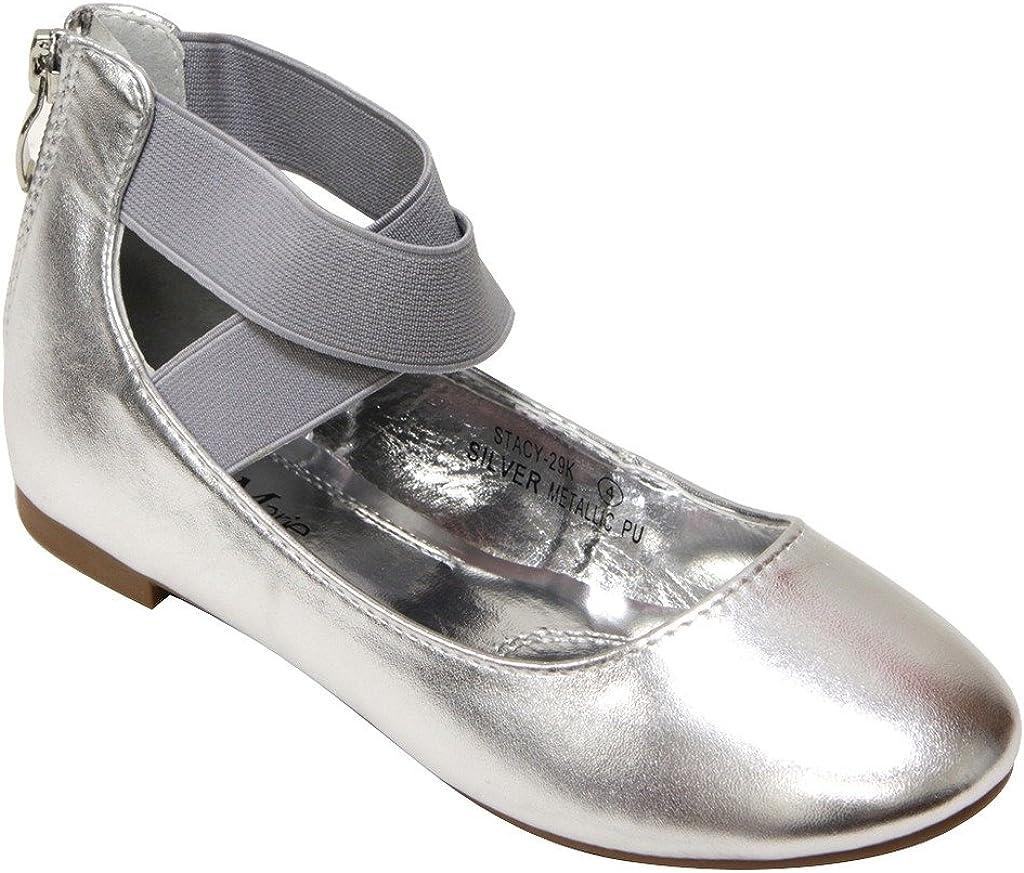 Bella Marie Stacy-29K Kids Round Toe Crossing Ankle Elastic Strap Back Zip Closure Flat Dancing Shoes