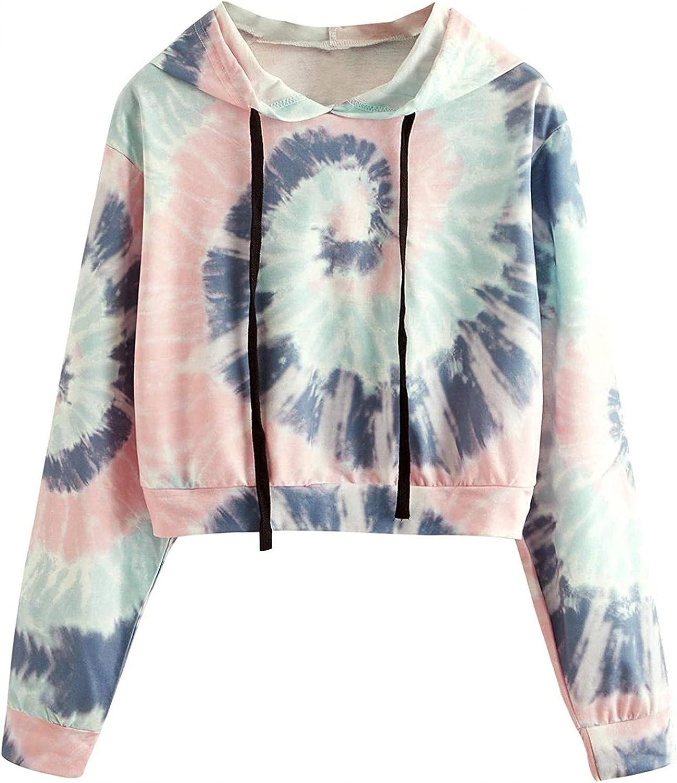 MASZONE Crop Hoodies for Teen Girls Trendy Tie Dye Hooded Crewneck Sweatshirt Lightweight Drawstring Pullover Hoodies