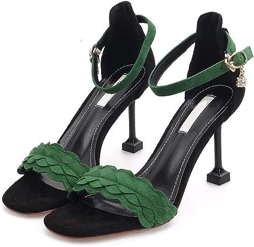 GTVERNH Mode Chaussures femme 9Cm Talons Hauts Summer Joker Chat Chat Chat Les Petits Orteils Sandales Et des Sandales.Trente - Sept Le Jaune  jusqu'à 60% de réduction