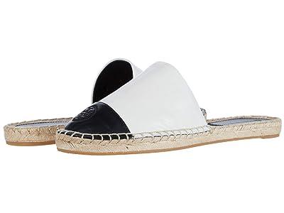 Tory Burch Color-Blocked Flat Espadrille Slide (Ivory/Perfect Black) Women