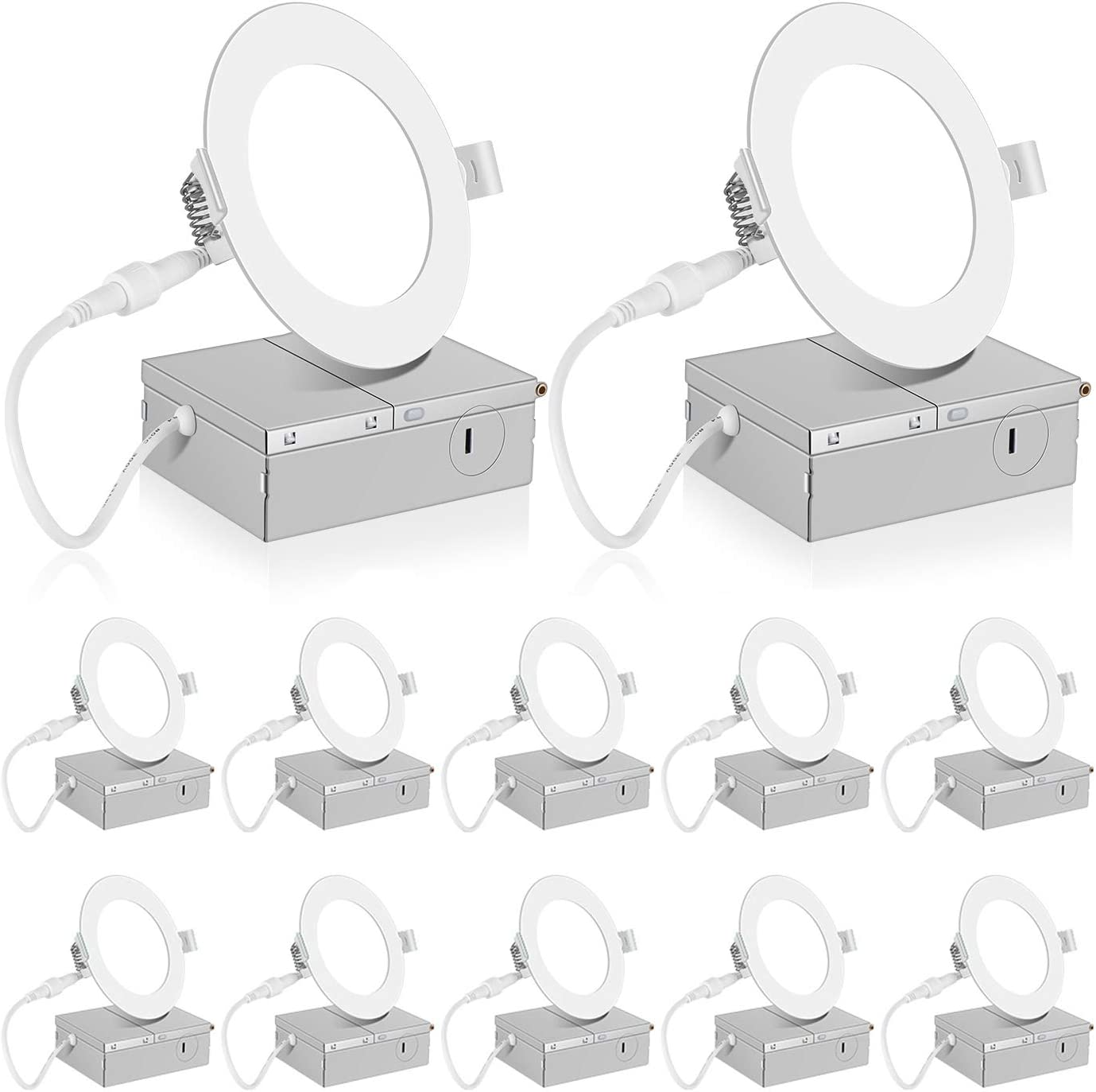 Dimmable IC-Rated Slim Pot Light with Junction Box 9W 750LM Super Bright INCARLED 12Pack Upgraded 4inch LED Recessed Ceiling Lighting 3000K, 4000K, 5000K Color Changeable 3CCT