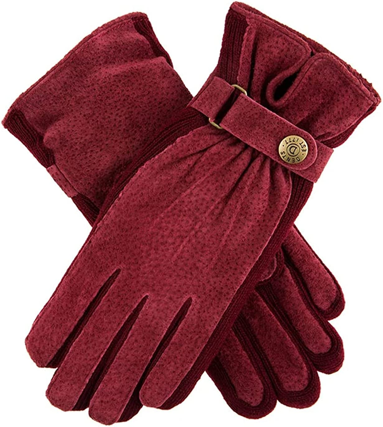 Dents Max 59% OFF Womens Laura New Orleans Mall Suede Side S Claret Walking Gloves Knit