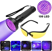 Smilewx UV Blacklight Flashlight Pet Stain Urine Detector, Bright 100 LEDs Black Light Torch Bed Bug and Scorpion Finder with UV Glasses