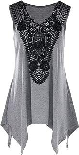 Wintialy Women Sleeveless Irregular T-Shirt Plus Size V Neck Lace Trim Tank Top T-Shirt