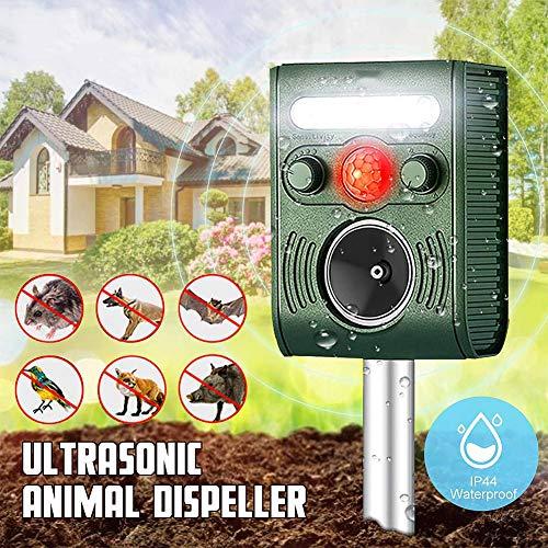 MTSBW Solar-Vogel Repellent, Außenultraschallinsektenschutz, Tier Maus Repellent PIR Sensor, IP44 wasserdichte Technologie, Solar-und USB, Outdoor, Katze, Hund