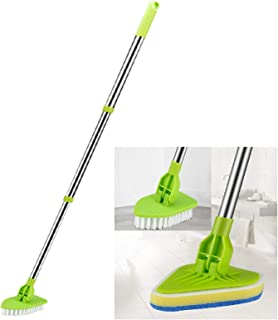 """Global-Store Floor Scrub Brush with Long Handle 35"""", Adjustable Stainless Metal Handle Bathtub Cleaner Tool, Scrubber with..."""