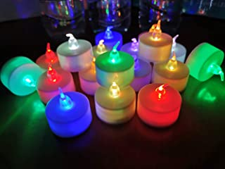 24 Pack LED Tea Lights Candles – 7 Color Changing Flameless Tealight Candle – Long Lasting Battery Operated Fake Candles – Decoration for Wedding, Party and Christmas (Multi-Color -24pcs)