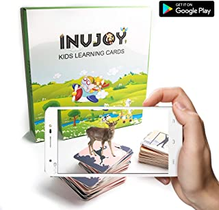 INVJOY AR - Augmented Reality Flash Cards for Kids - Land Animals Category - Educational Toys for Preschoolers - 4D Flashcards - Animals, Sea Creatures, Vehicles, Food, Action Verbs (Land Animals)