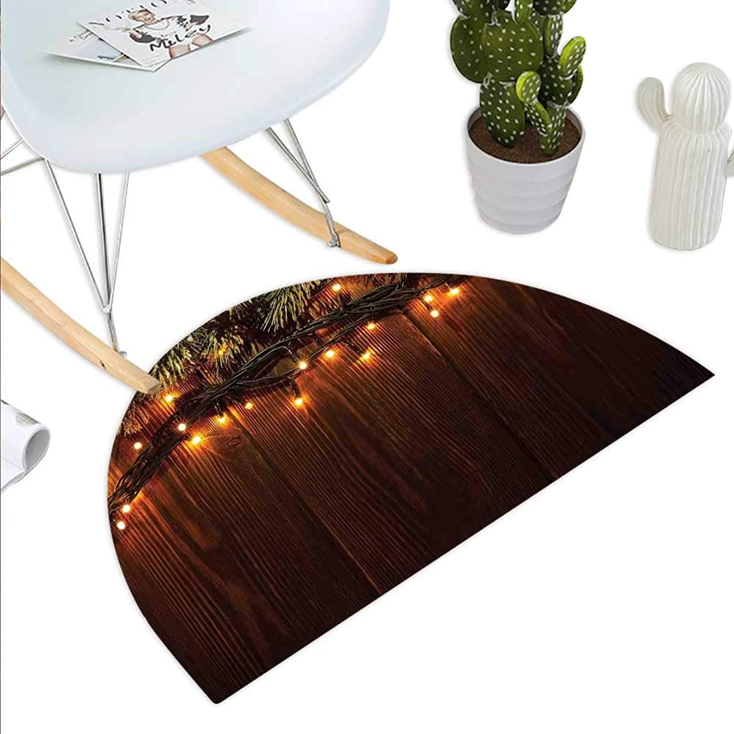 Christmas Semicircle Doormat Xmas Branch with Country Festivity Synergy Surprise Celebration Theme Print Halfmoon doormats H 23.6  xD 35.4  Brown Green