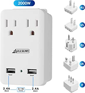 AULLSUMY 2000W Worldwide Travel Adapter Kit-Universal Electrical Adapters 2 USB Ports 2 US Outlets Travel Power Charger,International Travel Adapter Plug for Europe UK Australia Italy China Ireland