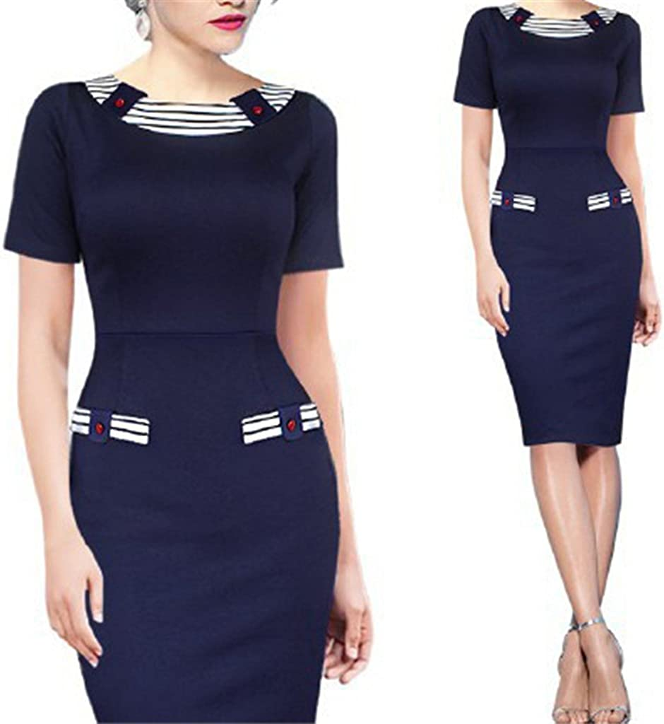 Wenli Women Short Sleeves Bodycon Wear to Work Business Midi Cocktail Dress Blue M