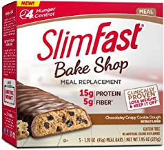 SlimFast Bakeshop Meal Replacement Bars -  Chocolatey Crispy Cookie Dough Bar, With 15g Of Protein & 5g Fiber, 1.59 Oz, 5 Count
