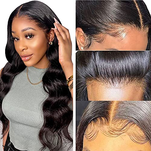 Lace Front Wig Human Hair 180% Density HD Lace Closure 13×4×1 Body Wave Lace Front Human Hair Wigs for Black Women 10A Grade Brazilian Virgin Hair Pre Plucked with Baby Hair 16 Inch(with 5 Free Gifts)