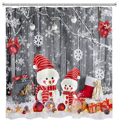 HVEST Farmhouse Christmas Snowman Shower Curtain Snowflake Santa Claus Xmas Ball on Rustic Wooden Board Winter Holiday Curtain Bathroom Decor Waterproof Plasitc Fabric Curtain with 12 Hooks 69x70 Inch