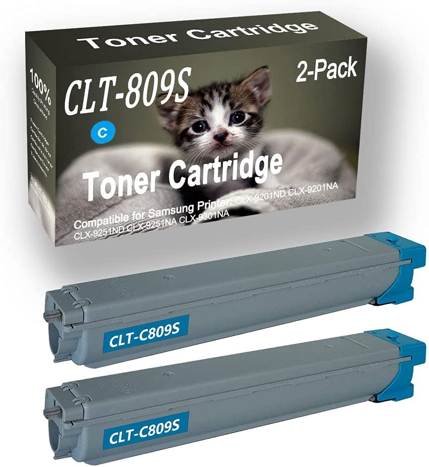 2-Pack (Cyan) Compatible High Yield CLT809S (CLT-809S) Printer Toner Cartridge use for Samsung CLX-9201ND CLX-9201NA CLX-9251ND Printers