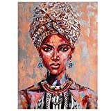 Tribu africana mujer lienzo pintura al óleo acuarela Graffiti turbante niñas figura carteles sala de estar arte de pared cuadro decorativo sin marco-50x70cm