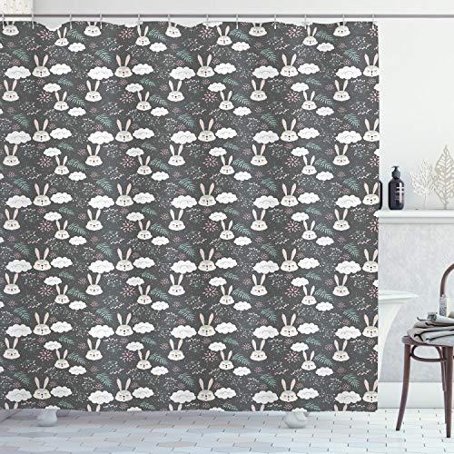 ABAKUHAUS Conejo Cortina de Baño, Los Conejos para Dormir y Nubes, Material Resistente al Agua Durable Estampa Digital, 175 x 180 cm, Multicolor