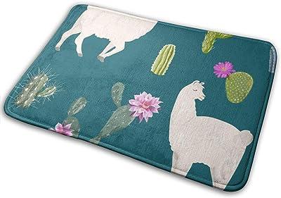 Door Mats Llama and Cactus Floor Mat Indoor Outdoor Entrance Bathroom Doormat Non Slip Washable Welcome Mats Decor 23.6 x 15.7 inch