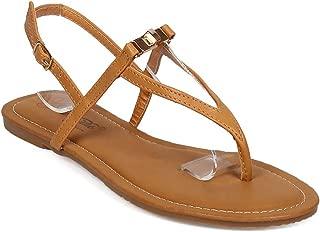 Breckelle's Women Leatherette Twist Lock Slingback Triangle Thong Sandal EF56